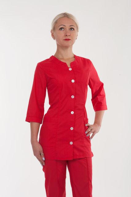 Медицинский костюм красного цвета на пуговицах  р.42-60