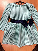 Нарядное платье для девочки, мятное в горошек 86, 92, 98, 104