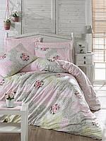 Хлопковый комплект постельного белья ЕВРО размера Cotton Box MELANI PEMBE CB03