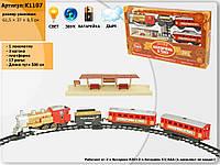 """Железная дорога """"МАНДРIВКА В ЧАСI"""" K1107 свет, звук, дым, в украинской коробке 61,5*37*8,5см"""