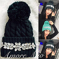 Женская шапка,крупная вязка с дорогими камнями,разные цвета!