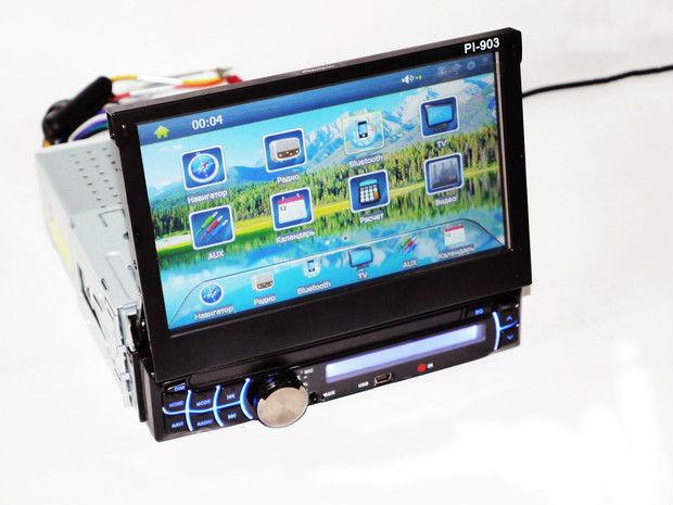 1din Магнитола Pioneer PI-903 GPS+TV  с навигационной системой GPS с программным обеспечением IGO 8, выдвижным