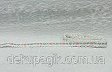Тесьма тканевая, Белая с узором-2, 1см