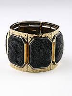 32050810 Шикарный золотистый браслет с черными вставками под ската для вечера и не только
