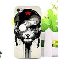 Оригинальный чехол бампер для Iphone 5 / 5S с картинкой Кот в каске