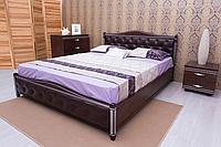 """Кровать из натурального дерева """"Прованс патина мягкая спинка ромбы"""" с подъемным механизмом, фото 1"""