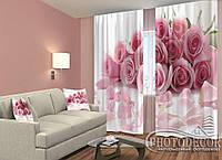 "ФотоШторы ""Пелюстки троянд"" 2,5 м*2,6 м (2 полотна по 1,30 м), тасьма"