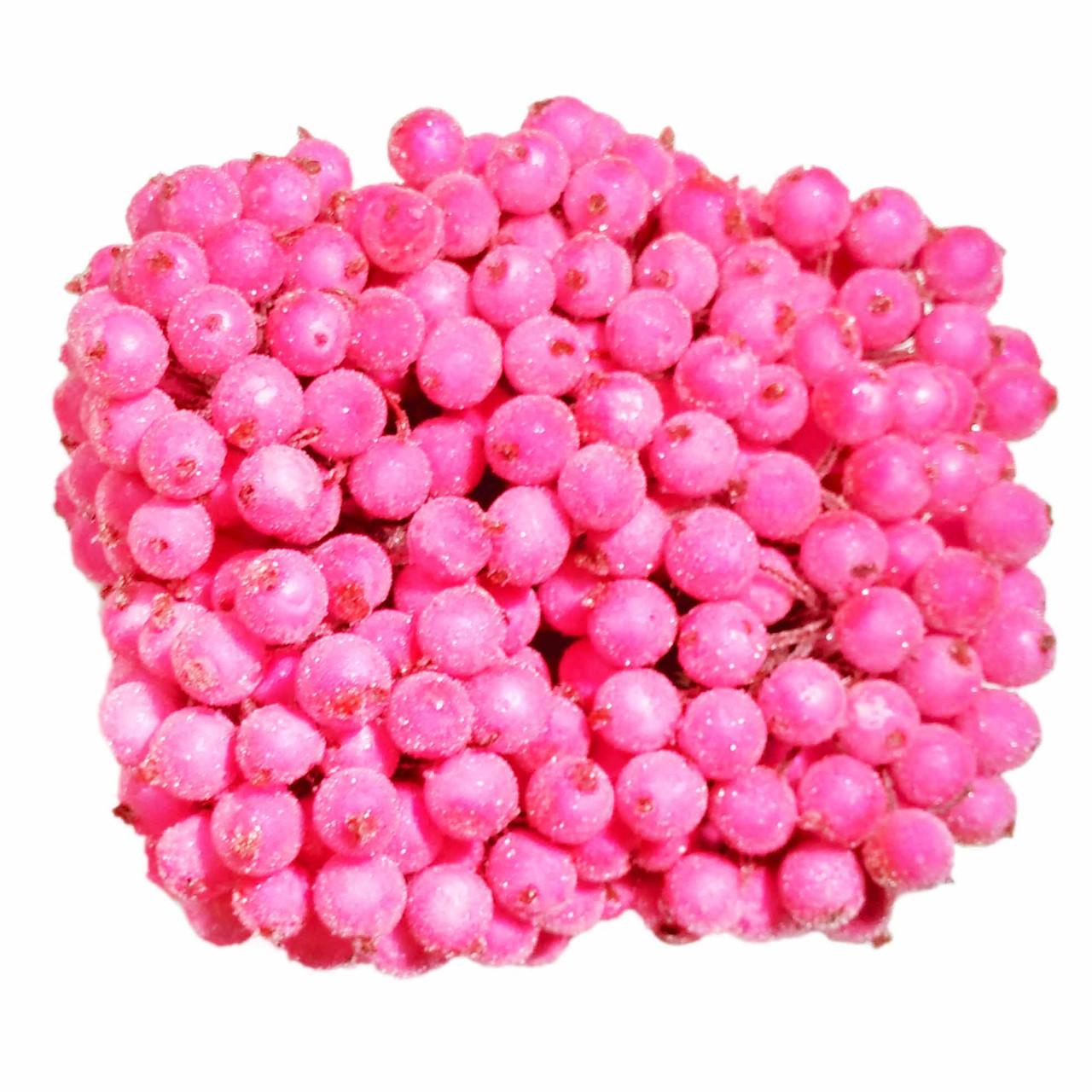 Ягодки в сахаре декоративные розовые 400 шт 12 мм