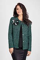 Шикарный женский пиджак в зеленом цвете с эксклюзивным украшением ручной работы
