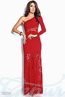 Вечернее кружевное платье. Цвет красный.