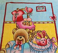 """Микрофибровая простынь,покрывало ELWAY """"Мишка и зайка"""" размер 110-140."""