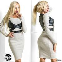 Элегантное теплое платье прилегающего силуэта. В комплект входит оригинальный корсет из экокожи.