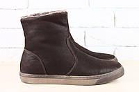 Мужские ботинки-сапоги, зимние, на меху, насыщенно-коричневые, из натурального нубука, 40-45 р-р