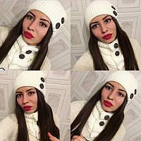 """Красивый, зимний комплект шапка + шарф """"Деревянные пуговицы"""" РАЗНЫЕ ЦВЕТА"""