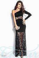 Вечернее кружевное платье. Цвет черный.
