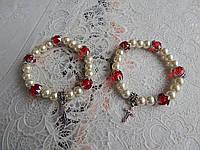 Браслет женский жемчуг с крестиком, фото 1