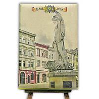 Блокнот со стикерами Post-it, в твердой обложке «Львів-Площа Ринок»в комплекте с чехлом