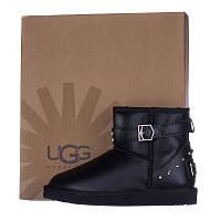 Угги женские кожаные UGG AUSTRALIA T16017 черные короткие