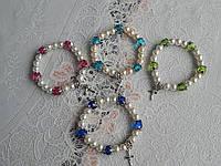 Красивые женские браслеты жемчуг с крестиком