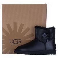 Угги женские кожаные UGG AUSTRALIA 3352 W/BLK-G черные короткие
