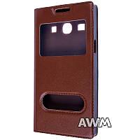 Чехол книжка с окошком для Samsung Galaxy Star Advance (G350) коричневый