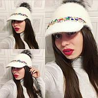"""Очень крутая, женская, зимняя кепка """"Ангора, декорирована камнями"""" РАЗНЫЕ ЦВЕТА"""