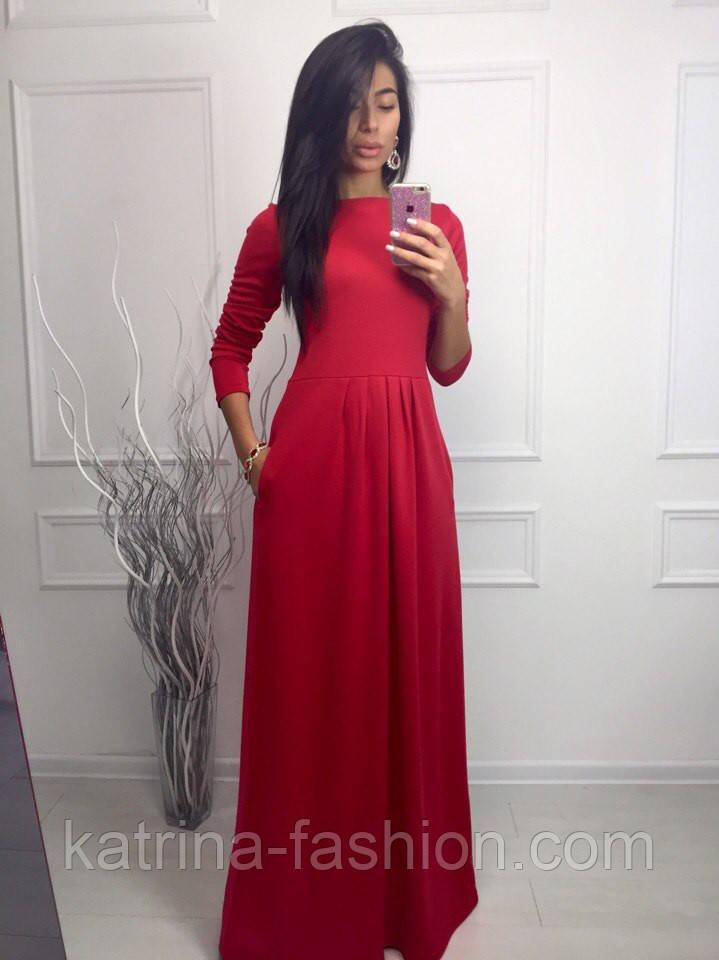 Женское модное платье в пол с карманами (3 цвета)