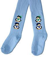 Колготы махровые детские Дюна, голубые с пингвинами, рост 98-104 см