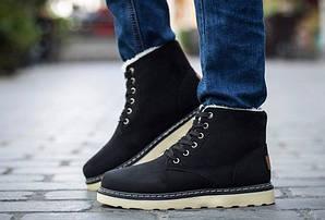 Зимние ботинки, цвет - черный, натуральная замша