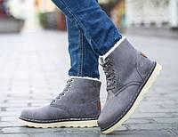 Зимние ботинки, цвет - серый, натуральная замша