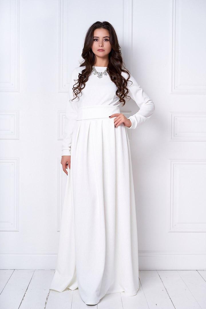 9cdbf13e5a5e Элегантное женское платье в пол, трикотаж жаккард. Молочный цвет - Модный  гардероб в Харькове