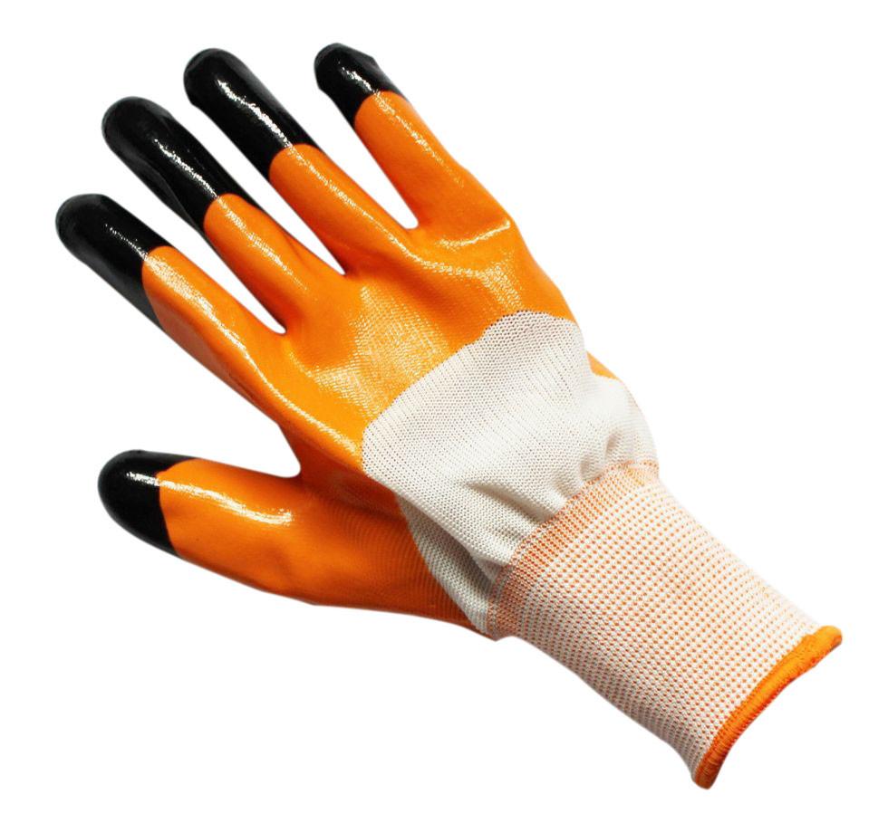 Перчатки нитриловые оранжевые с черными пальцами