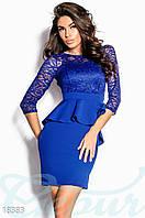Коктейльное платье баска. Цвет синий электрик.