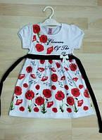 Платье для Девочки Маки с Черным поясом Белое  Рост 110 см