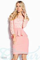 Коктейльное платье баска. Цвет пудрово-розовый.
