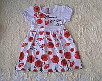 Платье для Девочки Маки с Белым поясом Белое  Рост 110 -122 см