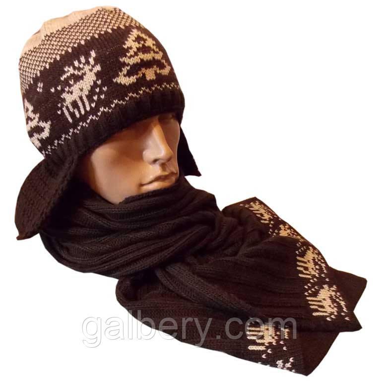 Зимняя ушанка и шарф с орнаментом