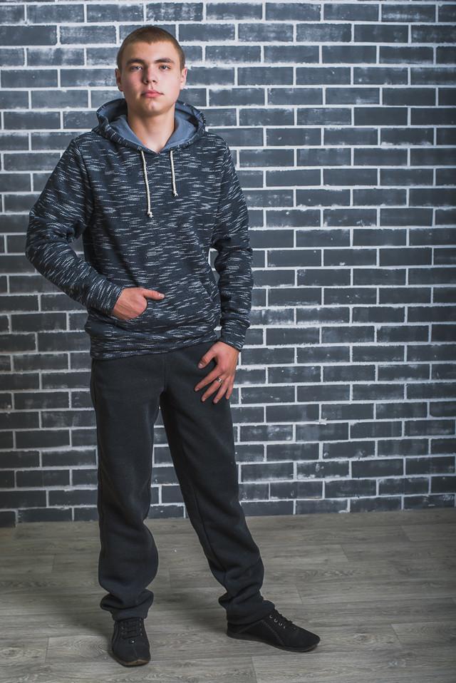 Штаны мужские спортивные утепленные темно-серые фото