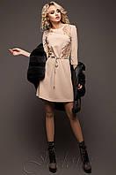 Женское бежевое платье-туника Силар  42-48 размеры Jadone