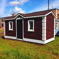 Садовый домик с облицовкой-имитацией цветного кирпича