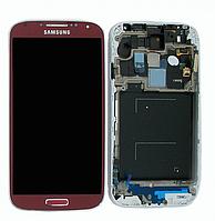 Дисплей для мобильного телефона Samsung i9500, Galaxy S4, красный, с тачскрином, с рамой, ORIG