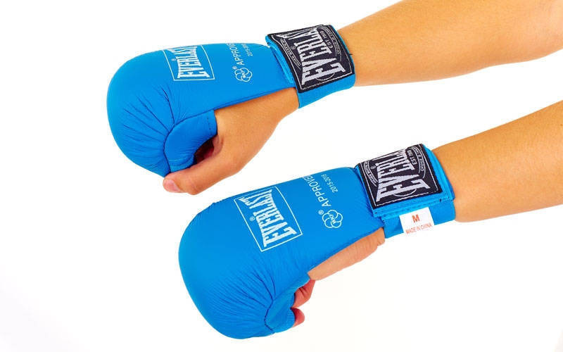 Рукавички для карате ELAST BO-3956-B (PU, розмір S-XL, синій, манжет на гумці)