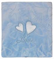 """Флисовый плед """"Два сердца"""" (Польша), цвет - голубой."""