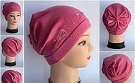 Женская шапка Arctic с бантом сзади розовая