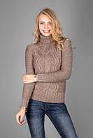 Стильный молодежный свитер крупной вязки в цвете капучино воротник отложной