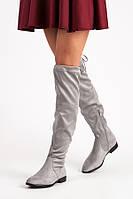 Женские ботфорты серые замшевые на низком ходу