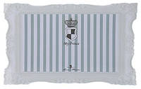 Коврик под миску My Prince, 44х28 см, серый с полосками