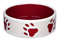 Миска керамическая с рисунком лапы, 0.3 л/ø12 см, кремовая/ красная