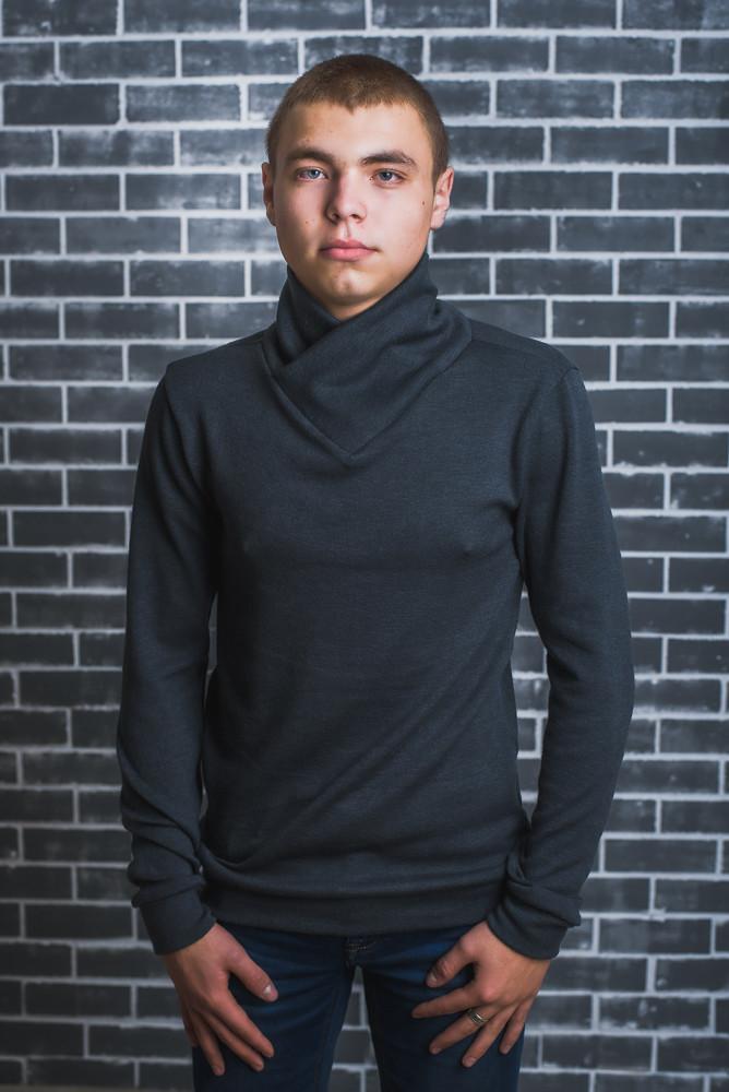 Мужская кофта шерсть темно-серая