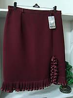 Женская нарядная классическая юбка бордового цвета с рюшей, фото 1